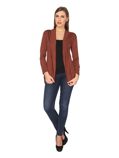 Ten on Ten Women's Brown Solid Pattern Shrug