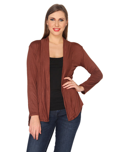 Ten on Ten Women's Pair of Brown/ White Long Shrug