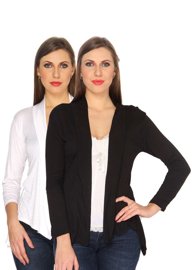 Ten on Ten Women's Pair of White/ Black Long Shrug