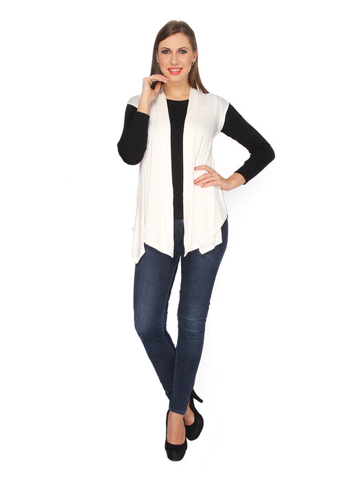 Ten on Ten Women's White Plain Long Shrug