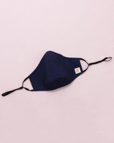 Solid Navy Cotton Mask (nose wire embedded)