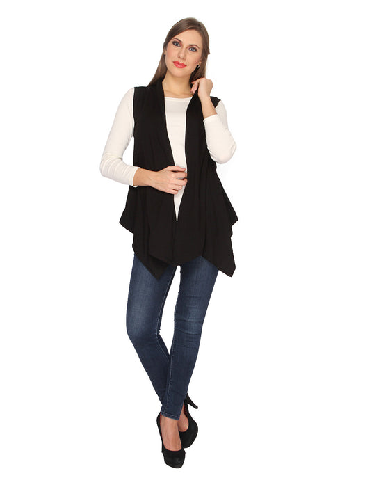 Ten on Ten Women's Black Plain Long Shrug
