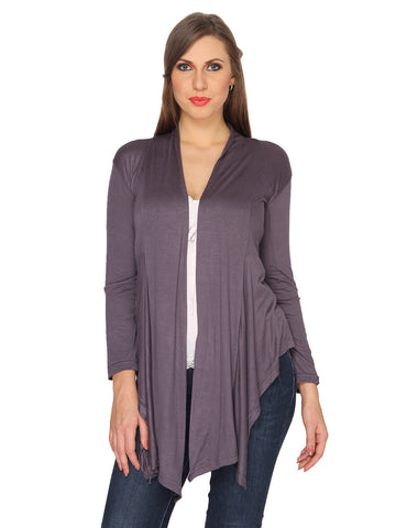 Ten on Ten Women's Grey Plain Long Shrug