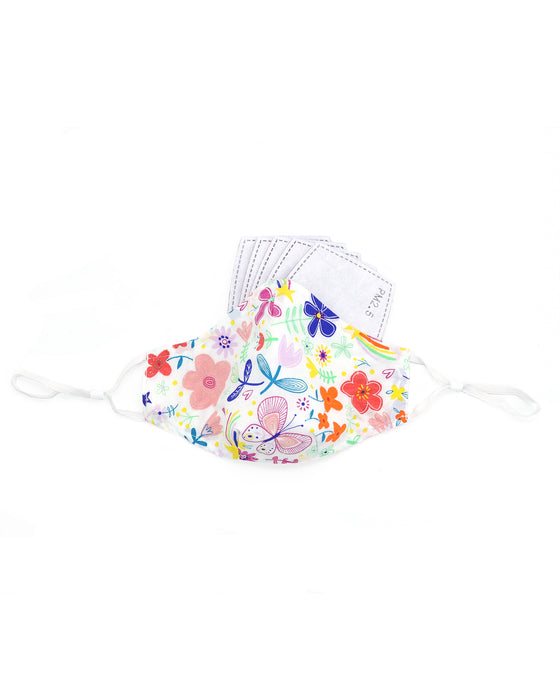 Retro Graphic Floral Cotton Mask (nose wire embedded)