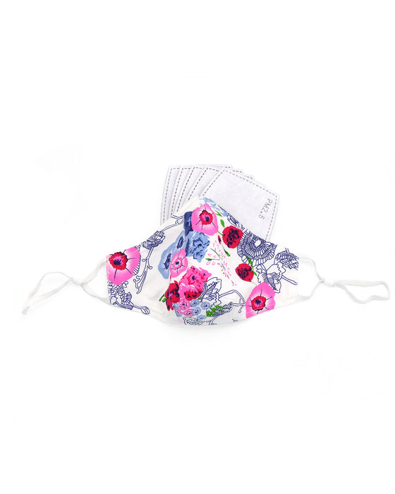 Cotton Lavender Pink Flowers Mask (nose wire embedded)