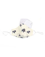 White Cotton Purple Flower Mask  (nose wire embedded)
