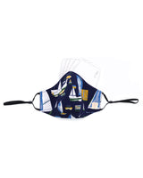 Boat Print Navy Cotton Mask (nose wire embedded)