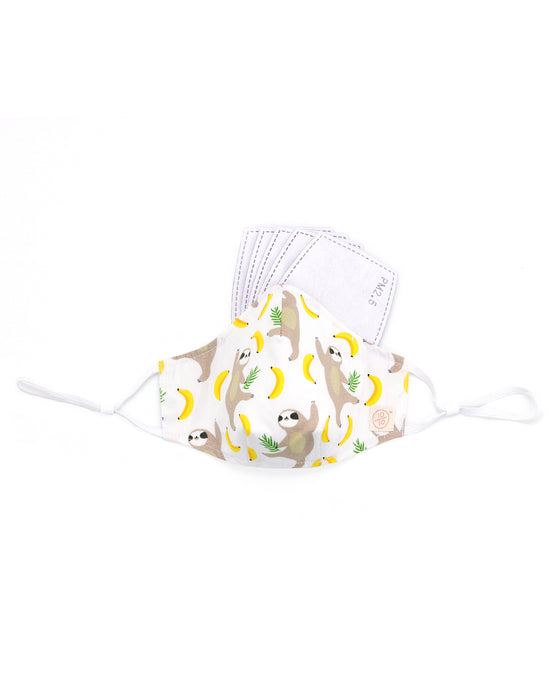 Sloth Goes Bananas Print Cotton Mask (white) (nose wire embedded)
