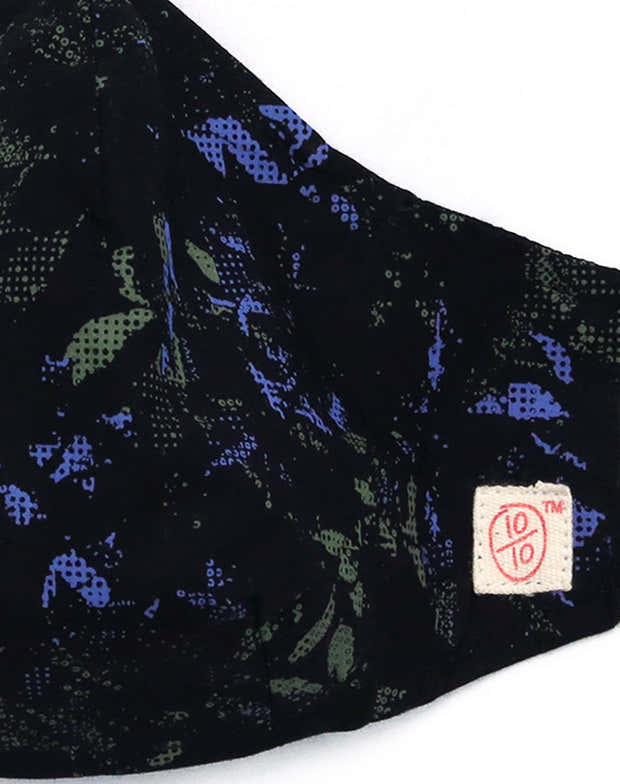 Black Graphic Print Mask (nose wire embedded) 1