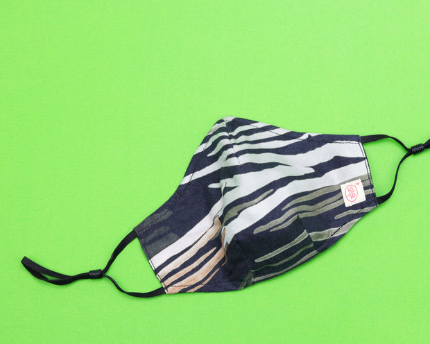 Green Multicolor Pattern Mask (nose wire embedded) 1
