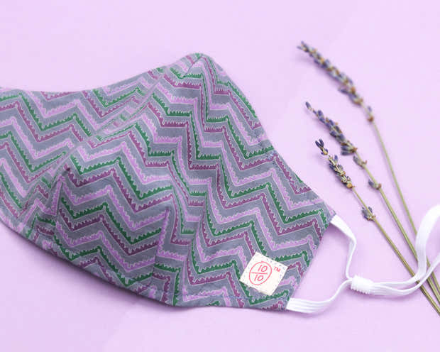 Purple Aztec Print Face Mask (nose wire embedded) 1