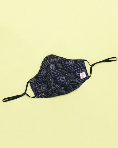 Handblock Black Cotton Mask (nose wire embedded)