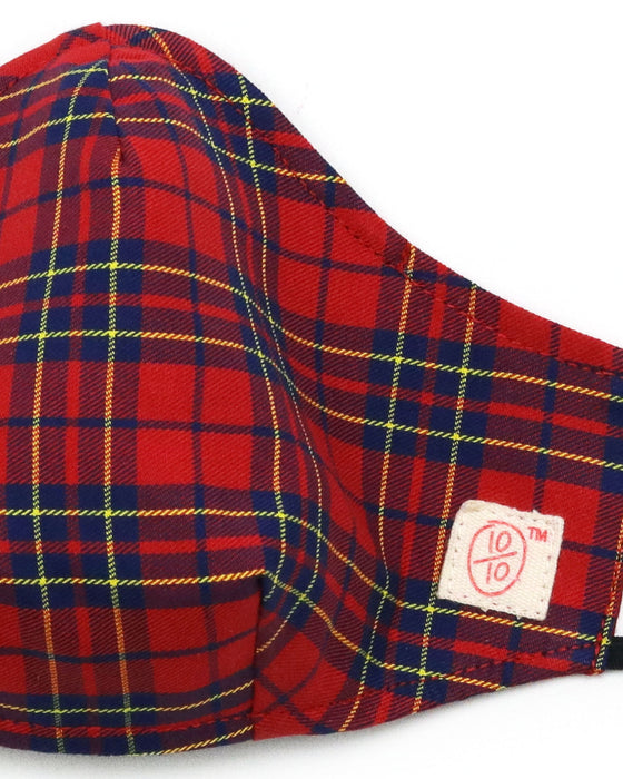 Red Plaid Bright Checks (nose wire embedded)