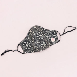 Black Grey White Floral Mask (nose wire embedded)