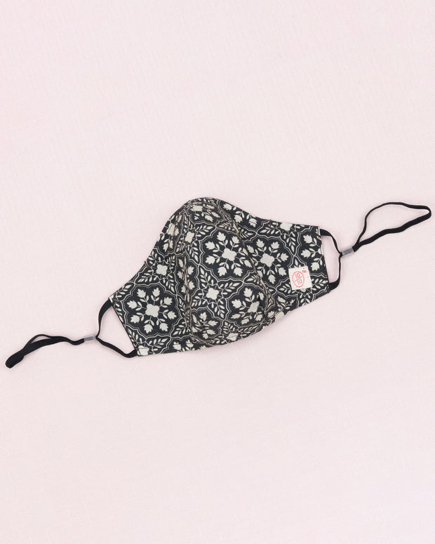 Black Grey White Floral Mask (nose wire embedded) 1