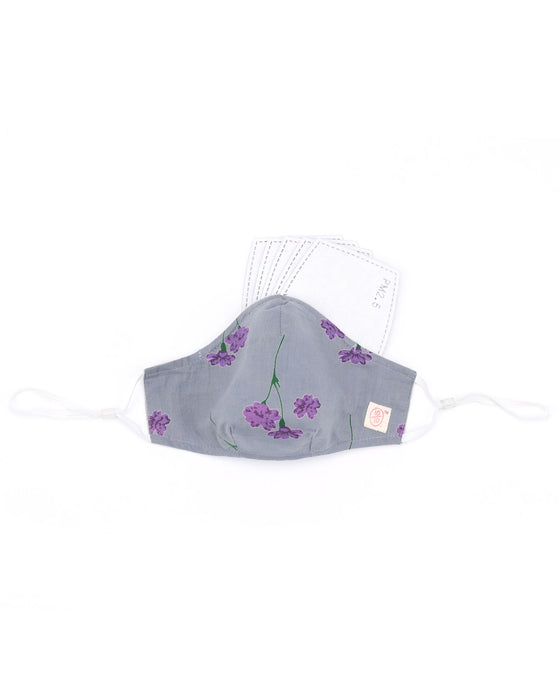 Grey Floral Print Mask (nose wire embedded)
