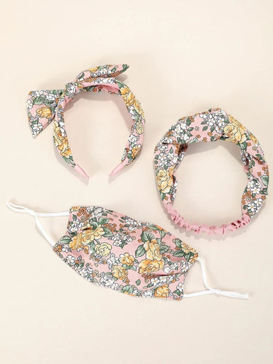 Floral Adult 3 piece Mask with Hair Bands