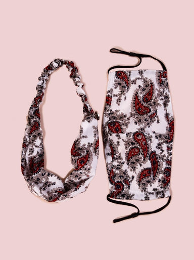 Paisley Adult Mask with Hairband-2 Pc