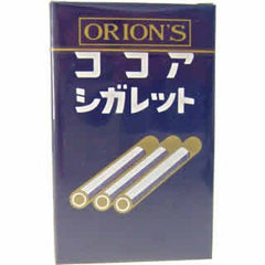 Orion cocoa cigaret Ingredients: sugar, glucose, cocoa powder, modified starch, emusifier, flavors, dextrin
