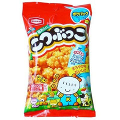 Kotsubukko Ingredients: Non-glutinous rice, (including wheat, soybean) vegetable oil, soy sauce, (including soy) sugar, honey, starch, lactose fructose oligosaccharide, spices, powdered soy sauce, sweetened condensed milk, milk powder, salt, modified starch, shell calcium, seasoning fee (amino acids), caramel color, paprika dye, trehalose Allergen: wheat, soybeans, milk