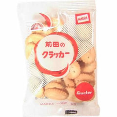 Maeda no Cracker  Ingredients: Wheat flour, vegetable oil, shortening, sugar, salt, yeast, butter, leavening agent, seasoning (such as amino acids), emulsifier (soy-derived) Allergen: Wheat