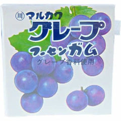 Marukawa Grape Gum Ingredients: Sugar, glucose, syrup, grape juice, starch, gum base, acidulant, thickener (gum arabic), flavoring, calcium lactate, grape dyes, brighteners Allergen: Grape