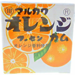 Marukawa Orange Gum Ingredients: Sugar, glucose, syrup, orange juice, starch, gum base, acidulant, thickener (gum arabic), flavoring, calcium lactate, annatto dye, brightener