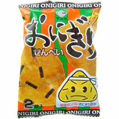 Onigiri senbei Ingredients: Non-glutinous rice (domestic, from USA), vegetable oil, soy sauce, sugar, dextrin, dried seaweed, egg yolk powder, pork extract, modified starch, seasoning (such as amino acids), emulsifiers, antioxidants (vitamin E), paprika color Allergen: pork, egg