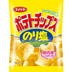 Potato chips sea salt Ingredients: Potatoes (not genetically modified), vegetable oil, salt, seaweed, sea lettuce, spices, Yeast extract powder, seasoning (such as amino acids)