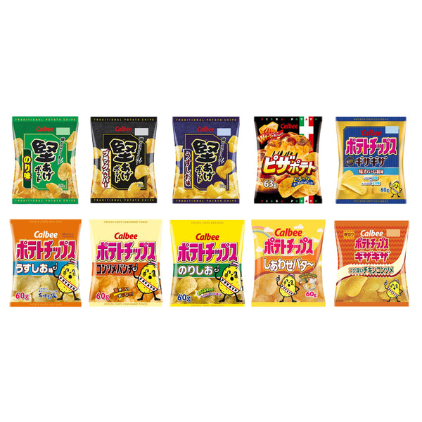 Calbee Various Potato Chips 10 Packs Assortment Set