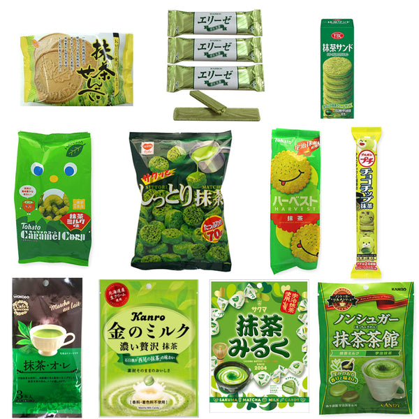 Matcha Flavor 14 Packs Assortment Set (cookies, candies, chocolates and teas)