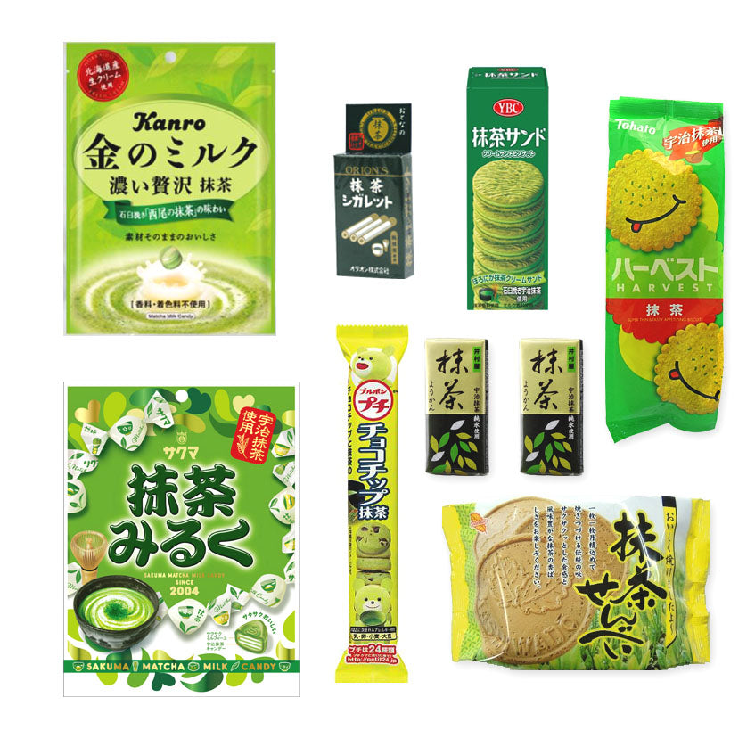 Matcha Flavor 9 Packs Assortment 【A】 Set (cookies, candies, chips, sweet bean past jellys and marshmallows)
