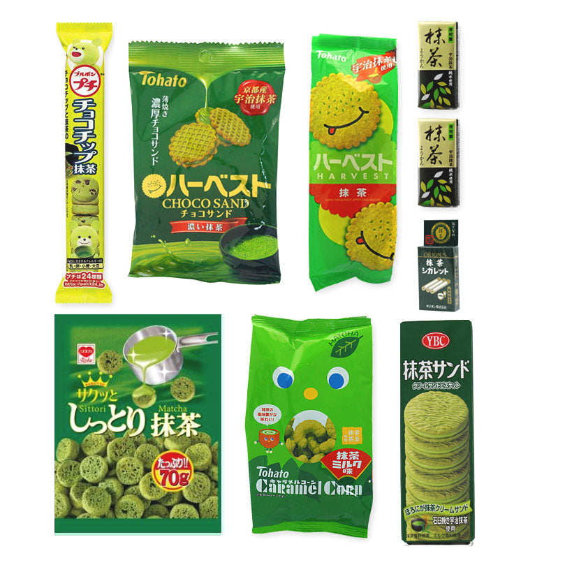 Matcha Flavor 9 Packs Assortment 【B】 Set (cookies, chips, snacks and sweet bean past jellys)