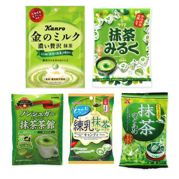 Matcha Flavor 5 Packs Assortment Candies Set
