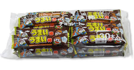 "Japanese Junk Food Snack ""Umaibo"" 30 Pieces Pack of Chocolate Flavor"