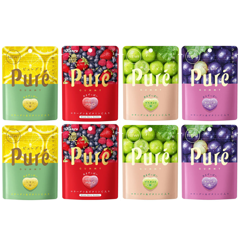 Kanro Puré Gummy Candies Assortment 8 Packs Set (Lemon, Berry&Berry, Mascat and Grape:each 2)