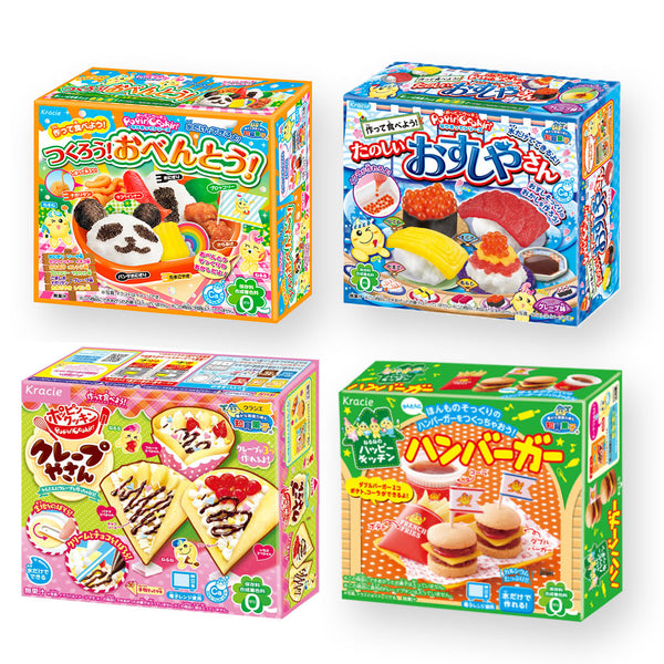 "Kracie DIY Candy ""Popin Cookin & Happy Kitchen"" 4 Kits Set (Lunch box, Sushi, Crape and Hamburgur)"