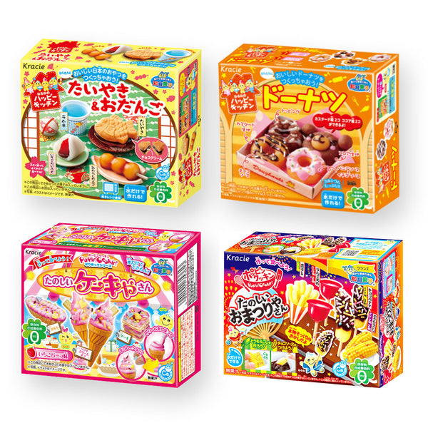 "Kracie DIY Candy ""Popin Cookin & Happy Kitchen"" 4 Kits Set(Taiyaki(Fish-shaped waffle) & Odango(Rice dumpling), Doughnut, Cake and Festival Stall Snacks)"