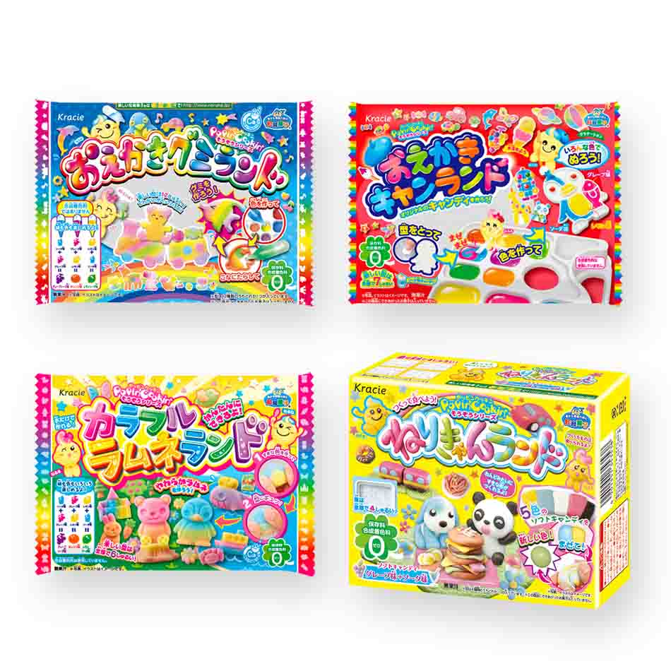 "Kracie DIY Candy ""Imagination Series"" 4 Packs Set (Oekaki Gummy Land, Oekaki Candy Land, Colorful Ramune Land and Neri-Candy Land)"