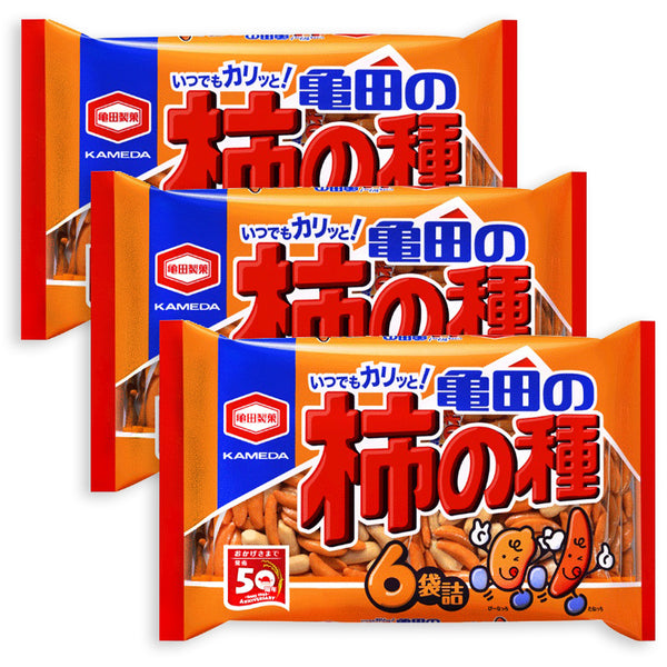 3 Packs Set of Kameda Kakinotane Rice Cracker with Peanuts 6 Packs