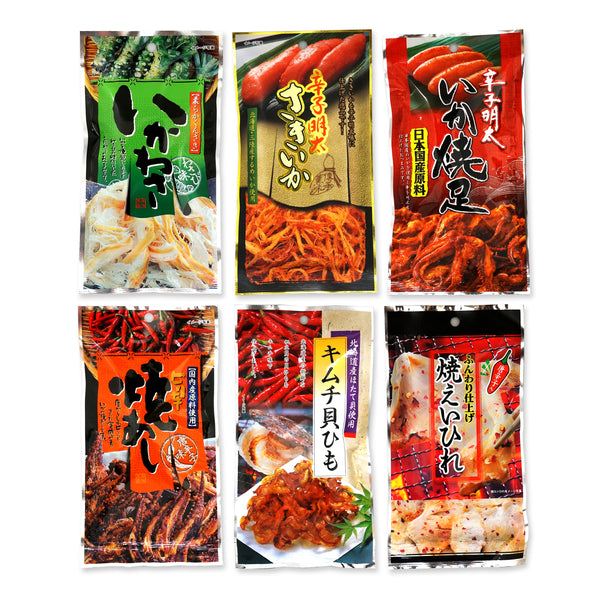 Assorted 6 Packs Set of Otsumami (dried seafood (squid, shellfish, ray) snack eaten with Sake)