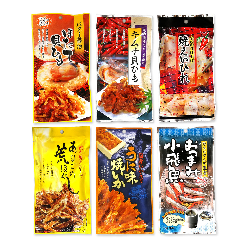 Assorted 6 Packs Set of Otsumami (dried seafood(Squid, Shellfish, Ray, Conger, Flying fish) snack eaten with Sake)