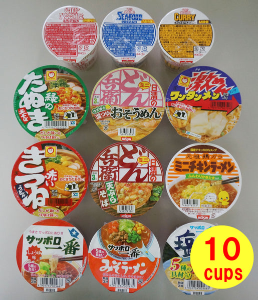 Cup Noodle Mini Cup 10 Cups Assortment Set with 2 Chopsticks(random select)
