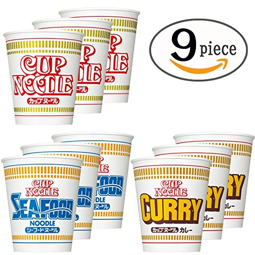 Nissin Cup Noodles 9 Cups Set (soy sourse, seafood taste and curry :each 3)