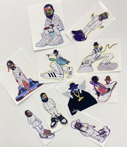 "NEW! ""HIP HOP SNEAKER HEADS"": DIE CUT VINYL STICKER PACK (SET OF 10)"