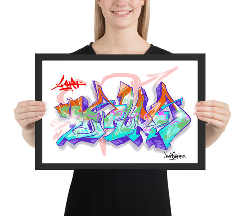 MAN ONE CUSTOM GRAFFITI ART PRINT! - Framed
