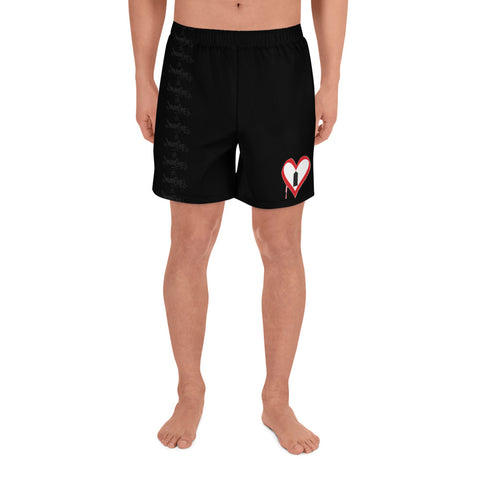 "NEW! ""MAN ONE SHORTS: SPRAY CAN HEART"" - Men's Athletic Long Shorts"