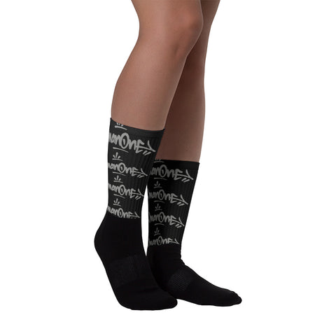 "NEW! ""MAN ONE TAGS"": Black on Black foot socks"