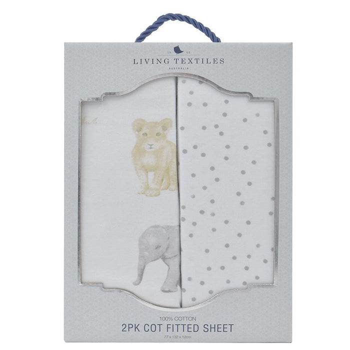 Living Textiles 2 Pack Jersey Cot Fitted Sheets