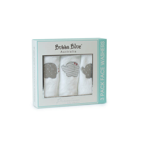 Bubba Blue Face Washers 3pk